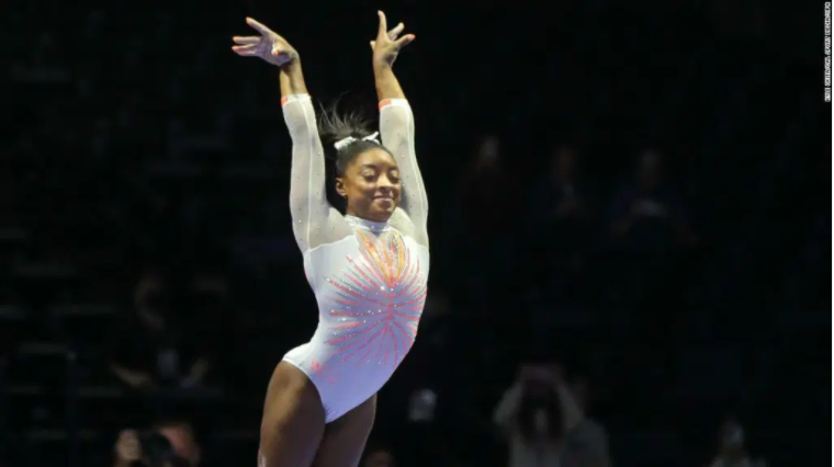 Simone Biles becomes the first woman to achieve a double mortal Yurchenko on her return to competitions